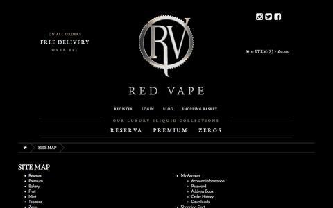 Screenshot of Site Map Page redvape.com - Site Map - captured June 21, 2017