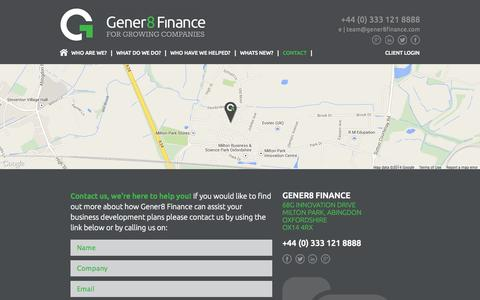 Screenshot of Contact Page gener8finance.com - Contact - captured Sept. 29, 2014