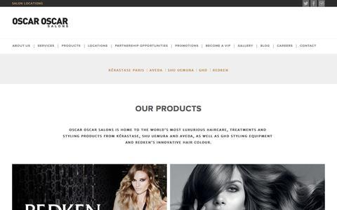 Screenshot of Products Page oscaroscar.com.au - Oscar Oscar - Australia's Best Luxury Hairdressing Salons - captured Oct. 6, 2014