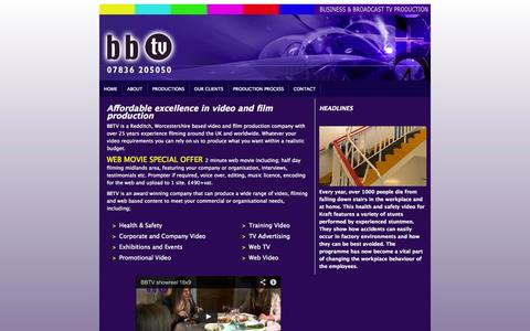Screenshot of Home Page bb-tv.co.uk - Video Production Redditch, Birmingham, Worcestershire. BBTV TV - captured Oct. 4, 2014