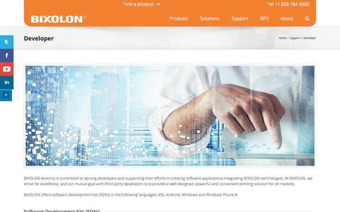 Screenshot of Developers Page bixolonusa.com - Developer - Bixolon USA - captured Oct. 30, 2019