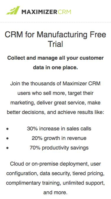 Screenshot of Trial Page  maximizer.com - Free Trial - Maximizer CRM
