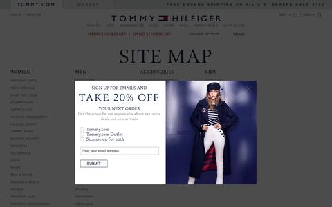 Screenshot of Site Map Page tommy.com - Site Map for Tommy Hilfiger USA - captured Dec. 2, 2016