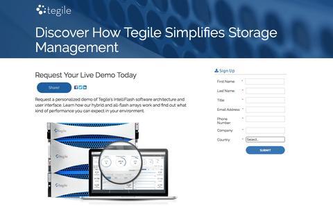 Screenshot of Landing Page tegile.com - Storage Management Software Demo | Tegile - captured March 17, 2016