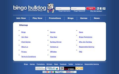 Screenshot of Site Map Page bingobulldog.co.uk - Online Bingo | 400% up to £50 1st deposit | 50% Reload and 10% weekly loyalty bonus on Bingo Bulldog - captured Sept. 30, 2014