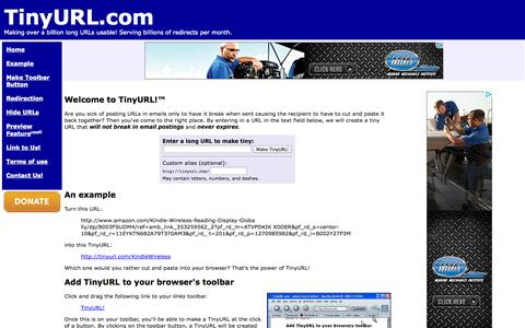 Screenshot of Home Page Terms Page tinyurl.com - TinyURL.com - shorten that long URL into a tiny URL - captured Oct. 10, 2014