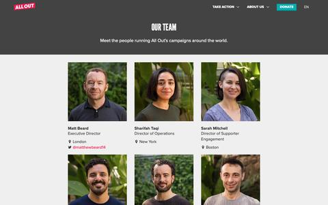 Screenshot of Team Page allout.org - Our Team | All Out - captured Oct. 3, 2018