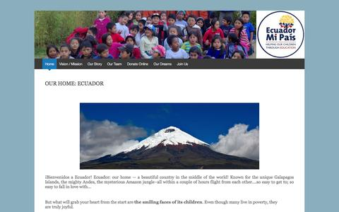 Screenshot of Home Page ecuadormipais.org - Ecuador Mi País | Helping our children through education - captured Jan. 17, 2015