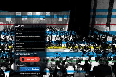 Screenshot of Signup Page peeppol.net - Sign up - Peeppol Network - Website Builder and Database of the Performing Arts - captured Oct. 2, 2014