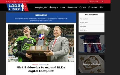 Screenshot of laxallstars.com - Interviews - Lacrosse All Stars - captured Aug. 27, 2016