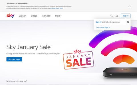 Screenshot of Home Page sky.com - Sky TV & Broadband | News, Sports, Movies & Entertainment | Sky.com - captured Jan. 21, 2019