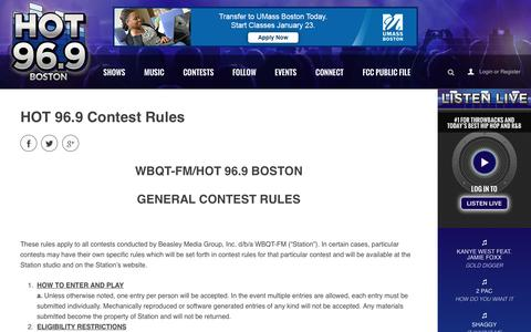 HOT 96.9 Contest Rules - HOT 96.9 Boston