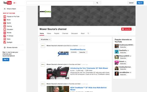 Screenshot of YouTube Page youtube.com - Mower Source's channel  - YouTube - captured Oct. 23, 2014