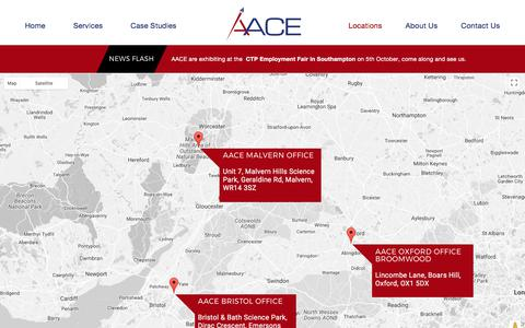 Screenshot of Locations Page aace.co.uk - Locations - AACE - captured Oct. 7, 2017