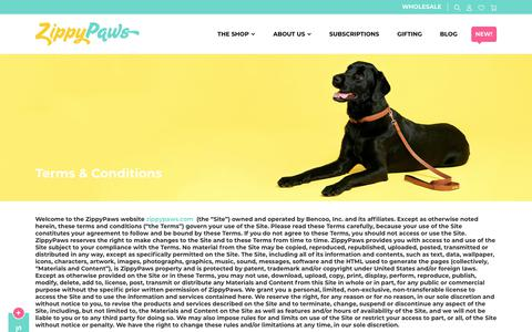 Screenshot of Terms Page zippypaws.com - Terms and Conditions | ZippyPaws - captured Oct. 20, 2018