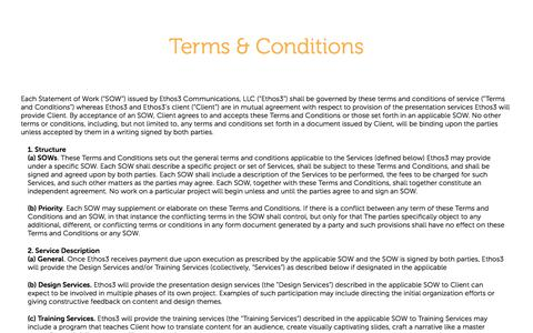 Screenshot of Terms Page ethos3.com - Terms & Conditions | Ethos3 - A Presentation Design Agency - captured Jan. 17, 2018
