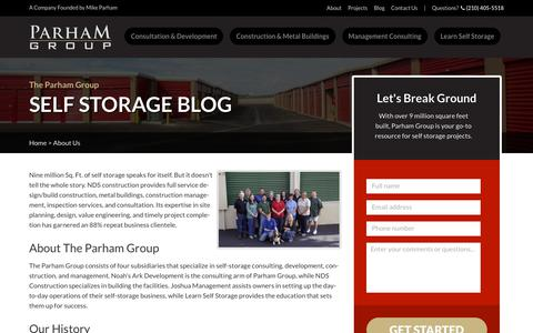 Screenshot of About Page learnselfstorage.com - About Us | Parham Group - captured Sept. 27, 2018