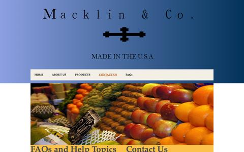 Screenshot of Contact Page macklinandco.com - Contact Us - captured Oct. 4, 2014