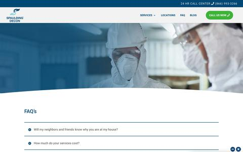 Screenshot of FAQ Page spauldingdecon.com - FAQ - SPAULDING DECON - captured Dec. 21, 2018
