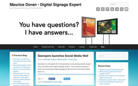 Screenshot of Blog mauricedoranconsulting.com - Blog   Maurice Doran • Digital Signage Expert - captured Nov. 25, 2016