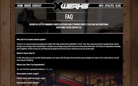 Screenshot of FAQ Page xwerks.com - XWERKS | Elite Nutrition For Elite Athletes - captured Nov. 5, 2014