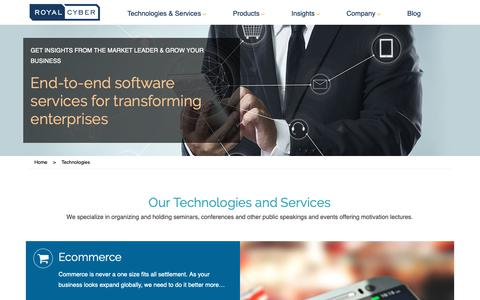 Screenshot of Services Page royalcyber.com - Technology driven business solution provider   Royal Cyber - captured Oct. 29, 2018