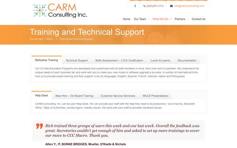 Screenshot of Services Page carmconsulting.com - What We Do | CARM Consulting, Inc. - captured July 11, 2017
