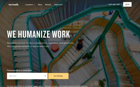 Screenshot of Home Page wework.com - WeWork Coworking and Office Space - captured Nov. 18, 2017