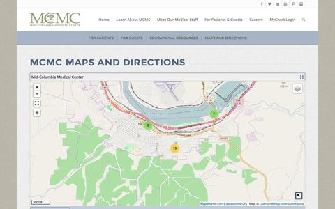Screenshot of Contact Page Maps & Directions Page mcmc.net - MCMC Maps and Directions - Mid-Columbia Medical Center - captured Nov. 28, 2016