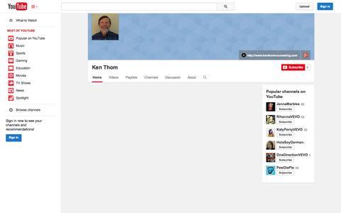 Screenshot of YouTube Page youtube.com - Ken Thom  - YouTube - captured Nov. 3, 2014