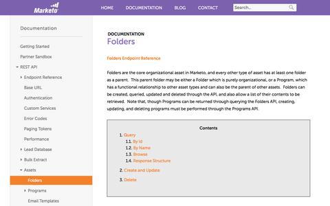Screenshot of marketo.com - Folders - Marketo Developers - captured June 8, 2017