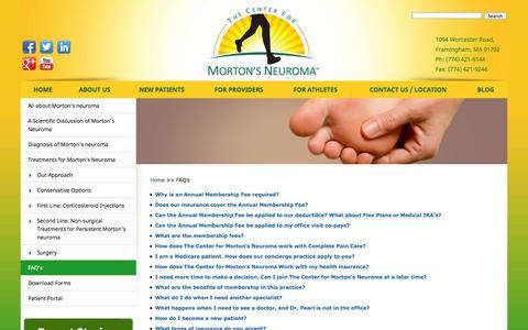 Screenshot of FAQ Page mortonsneuroma.com - FAQ's - Home - captured Sept. 23, 2014