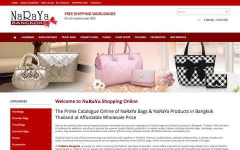 Screenshot of Home Page narayabangkok.com - Shop Catalogue of Naraya Bags & Naraya Products from Bangkok Thailand Online At Affordable Wholesale Price: NarayaBangkok.com - captured May 2, 2016