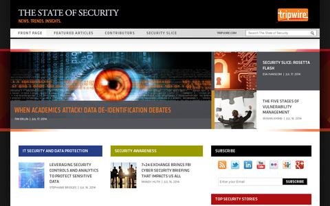 Screenshot of Blog tripwire.com - News. Trends. Insights. - The State of Security - captured July 20, 2014