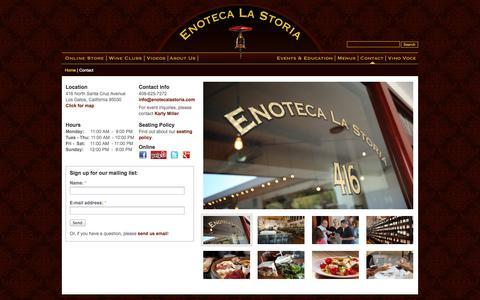 Screenshot of Contact Page Maps & Directions Page enotecalastoria.com - Contact | Enoteca La Storia - captured Oct. 23, 2014