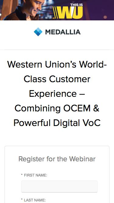 Webinar: Western Union's World-Class Customer Experience Combining OCEM and Powerful Digital VoC - Medallia