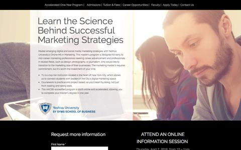 Screenshot of Landing Page yu.edu - Yeshiva University - Katz School of Graduate and Professional Studies - M.S. in Marketing - captured April 4, 2016