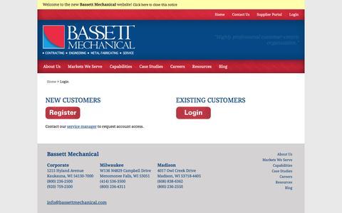 Screenshot of Login Page bassettmechanical.com - Login - Bassett Mechanical - captured Dec. 30, 2015