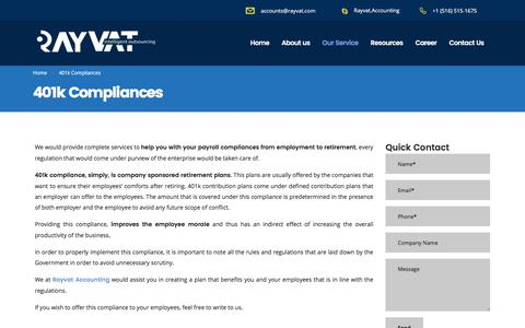 401k Compliances - Rayvat Accounting