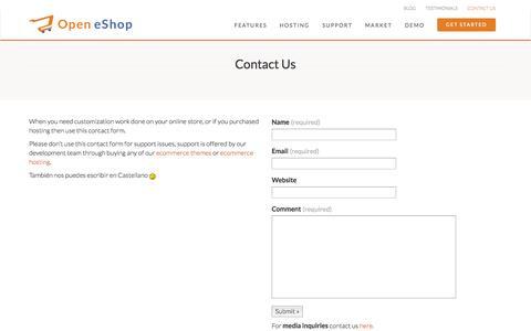 Screenshot of Contact Page open-eshop.com - Contact Us - Open eShop - captured Oct. 30, 2014