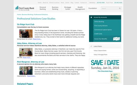 Screenshot of Case Studies Page firstcountybank.com - Professional Solutions Case Studies - First County Bank - captured Jan. 8, 2016