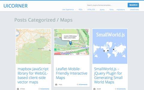 Screenshot of Maps & Directions Page uicorner.com - Maps  |   UICorner-User interface design resources,articles and tutorials - captured Nov. 3, 2014