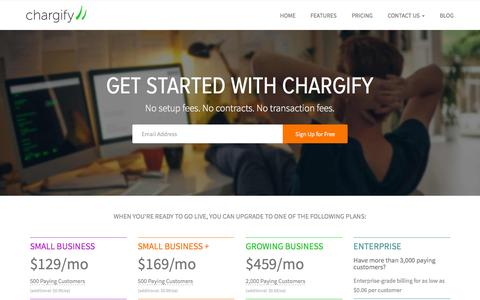 Screenshot of Signup Page Pricing Page chargify.com - Billing Plans for Startups and Small Businesses - Chargify - captured Dec. 2, 2015