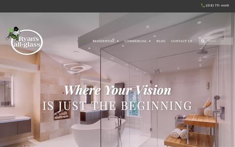 Screenshot of Home Page ryansallglass.com - Home | Ryan's All-Glass - captured Sept. 21, 2018