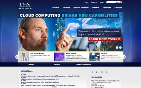 Screenshot of Home Page lgsinnovations.com - LGS Innovations | The Network Experts™ | - captured Sept. 26, 2014