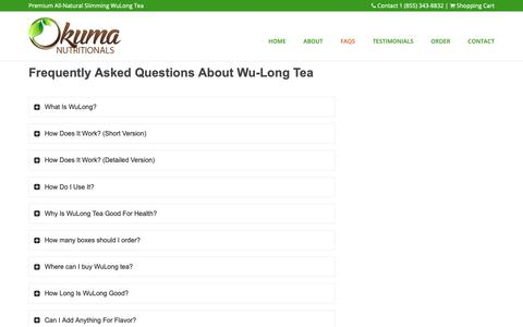 Screenshot of FAQ Page wulongforlife.com - Wu-Long FAQs – WuLong Premium Oolong Tea by Okuma Nutritionals - captured Oct. 1, 2018