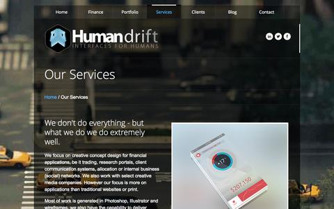 Screenshot of Services Page humandrift.com - Human Drift Limited | Bespoke Financial Design - captured Sept. 30, 2014