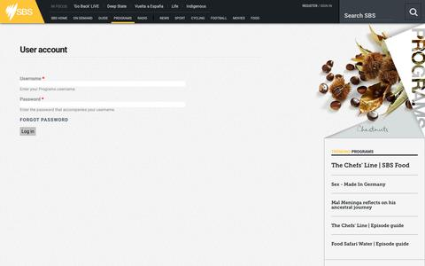 Screenshot of Login Page sbs.com.au - User account | Programs - captured Oct. 9, 2018