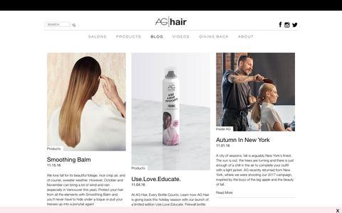 Screenshot of Blog aghair.com - Hair Fashion and Inspirations, How-to Videos, Interviews - AG Hair Blog - captured Nov. 19, 2016