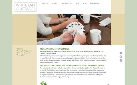Screenshot of Services Page whiteoakcottages.com - Memory Loss | Engagement | White Oak Cottages - captured Oct. 22, 2018